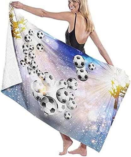 Toalla de Playa,Futbol Futbol con luz,Toalla de baño,Toalla de Playa,Toalla de Microfibra,Toalla de Viaje,Toalla de Deporte,para Nadar y bañarse 80 x 130 cm