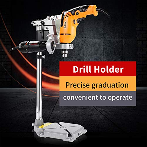 Weiyirot Drill Stand, Sturdy Base Drill Press Stand, Metal Drill Bracket Holder, for Home Improvement for Power Tool(Double Hole)