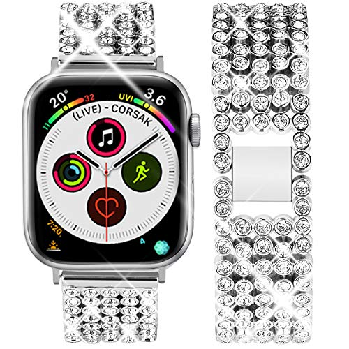 Goton Band Compatible with Apple Watch Band 44mm 42mm , Women Beads Link Crystal Bling Stainless Metal Replacement Strap for iWatch Band Series SE 6 5 4 3 2 1 (Silver, 44mm 42mm)