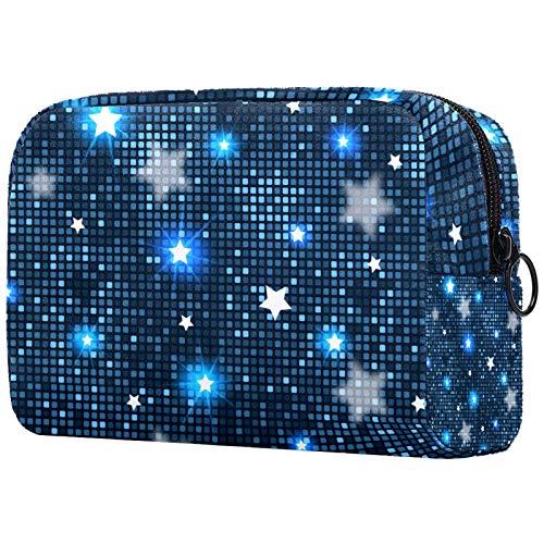 Neceser de Maquillaje Estuche Escolar para Cosméticos Bolsa de Aseo Grande Azulejos Abstractos Estrellas Azules