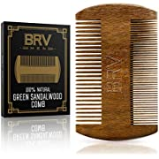 Beard Comb - Natural Solid Green Sandalwood - Works Perfectly with Your Beard Oil and Beard Balm - Comes with Carry Case, Pocket Size - Wooden comb - For All Types and Styles of Hair - BRV MEN