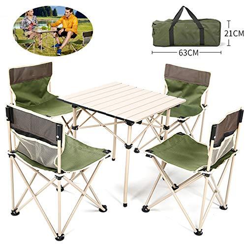 BSWL Juego De 5 Piezas/Mesa Y Silla De Picnic Plegable Al Aire Libre, Juego De Mesa Y Silla De Camping Portátil, Camping Al Aire Libre, Barbacoa De Picnic, Pesca Deportiva,Verde