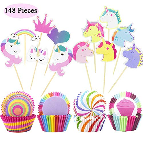 148 Stück Cupcake-Förmchen Set, Kuchenpapier Wrapper Cupcake Backförmchen mit Cupcake Toppers...