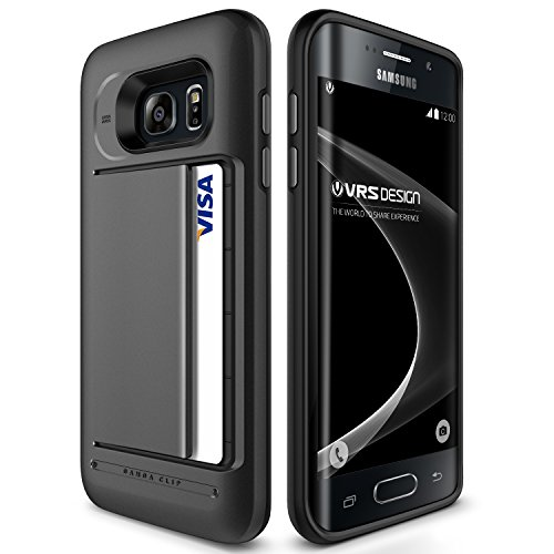 Galaxy S7 Edge Case, VRS Design [Damda Clip][Dark Silver] - [Wallet Card Slot][Military Grade Protection] for Samsung S7 Edge