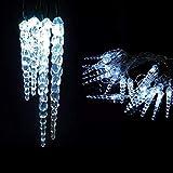 Guirlande de 8 m 40 LED bleues avec décoration de glaces, câble vert, décorations lumineuses, lumières de Noël, lumières décoratives, guirlandes lumineuses, lumières de Noël, effet givré