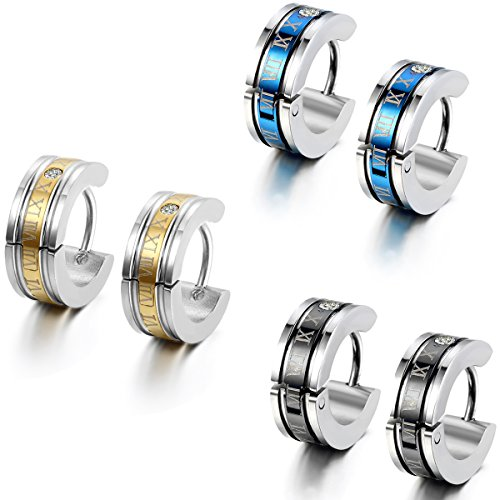 Flongo 6PCS Men's Classic Biker Stainless Steel Engraved Roman Numerals Classic Polished Hoop Hinged Earrings