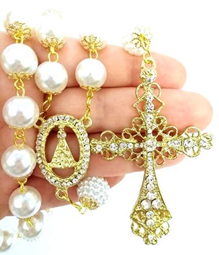 Terço De Noiva Dourado Perolas Brancas Aparecida