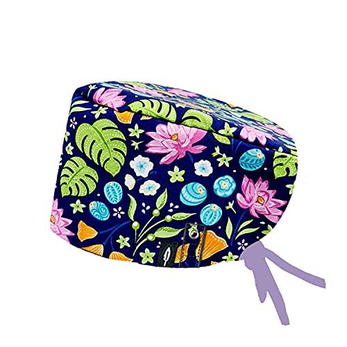 Robin Hat - Op-Haube FLORAL BLUE - Langhaar Modell - 100% Baumwolle - CLICK SYSTEM