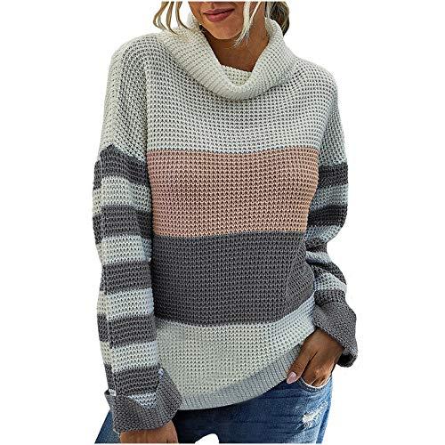 FELZ Sudaderas de Cuello Alto para Mujer Otoño Invierno Color Block Suéteres de Punto Tops
