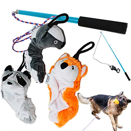 Jalousie Dog Flirt Pole with Three Squeaky Toys Plush Toys Dog Teaser Wand Chase it Dog Toy with Refills (Dog Flirt Pole w/Three Toys) - Upgraded Rope