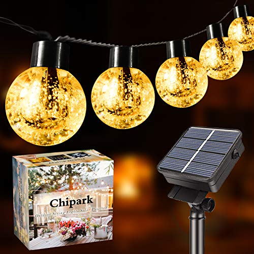 Chipark Solar String Lights , 26 Ft 30LED Waterproof Outdoor Garden Lights Crystal Ball Decorative Light for Garden, Courtyard, Wedding,Interior Decoration, Wedding, Christmas(Warm White)