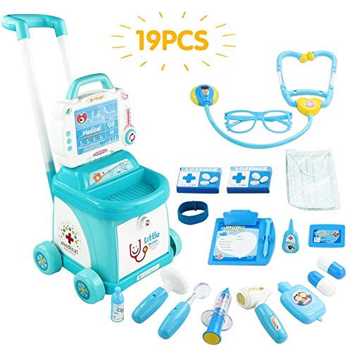 Fajiabao Doctor Kit for Kids Medical Set Toy Doctors Cart Plastic Simulation Medicine Accessories Toys Push Car Trolley Role Playing Educational Toys Birthday Gift Boys Girls 3 4 5 6 7 Years Old