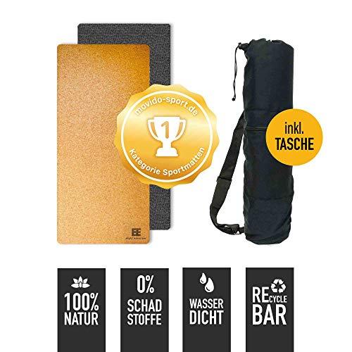 Öko Matte Yogamatte Fitnessmatte Trainingsmatte aus Kork & Naturkautschuk mit Tasche + Tragegurt - Yoga / Pilates / Fitness / Sport - rutschfest & dünn - schadstofffrei - für zuhause & to go