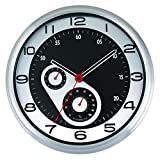 Likeluk Reloj de pared para cocina, 30 cm, moderno, silencioso, de cuarzo, segundero silencioso, con termómetro e higrómetro