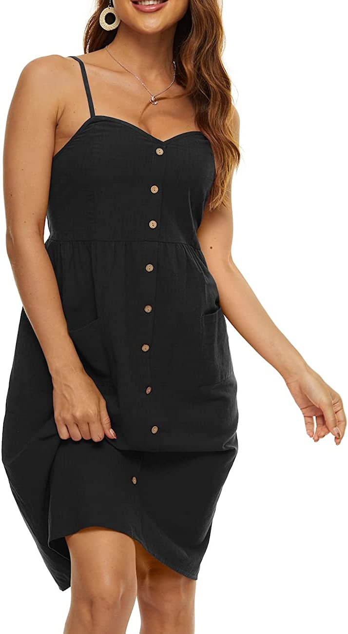 Max 52% OFF XSRYT Women Summer Cotton Linen V Beach D Adjustable Charlotte Mall Straps Neck