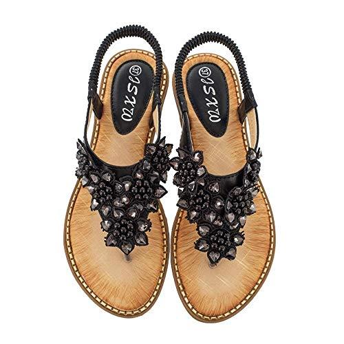 Sandalias planas de verano con correa en T para mujer, cómodas, sandalias de playa, sandalias bohemias con cuentas