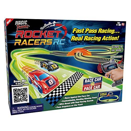Ontel Magic Tracks Rocket Racers Remote Controlled Race Car vs Pace Car Track Set