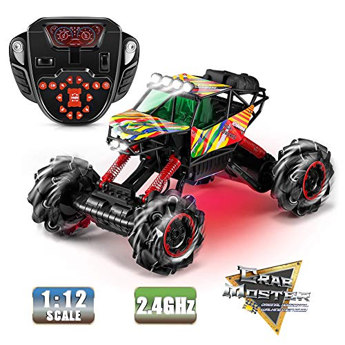RC Truck, Kidome 1/12 Scale Monster Truck 2.4G Desert Off-Road Climbing RC Cars Dance with Music Colorful LED lights 14 Channel 360° Rotation High Speed Remote Control Car Toys for Boy Gift