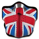 WINDMASK Neopren Biker Motorrad Maske Sturmmaske Skimaske - Union Jack UK England, Größe:M -...
