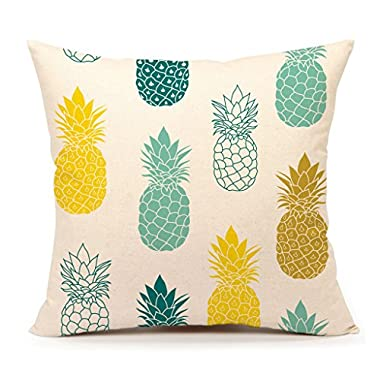 Pineapples Throw Pillow Cover Summer Beach Decor Cushion Case Decorative for Sofa Couch 18  x 18  Inch Cotton Linen(Blue Yellow )