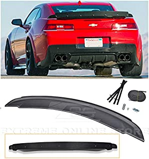 Extreme Online Store Replacement for 2014-2015 Chevrolet Camaro   EOS ZL1 Style ABS Plastic Primer Black Rear Trunk Lid Wing Spoiler with Carbon Fiber Center WickerBill Insert