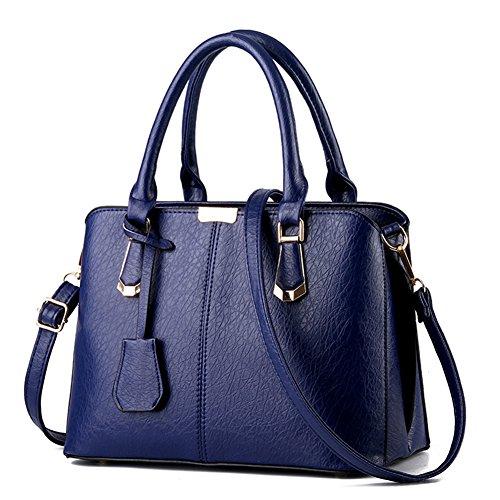 FunYoung signore borsa tracolla borsa a tracolla borse manico in pelle PU (Blu_B)