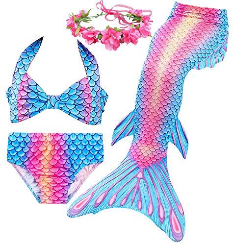 Always beautiful Sirena bañador Verano Playa de Entretenimiento Chica Set Brillante y de Moda (130# (8-9 años), DH76)