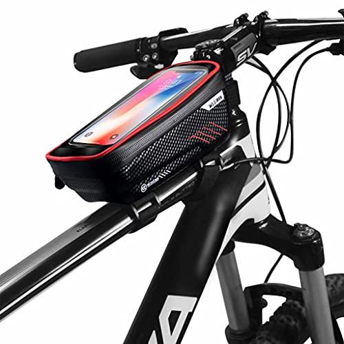 YZX Bolsa Bicicleta, Carcasa Dura portátil Impermeable Resistente al Viento, Paquete de viga Delantera para Bicicleta de montaña Bolsa para sillín para teléfono móvil,Rojo