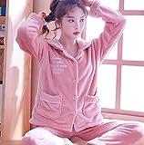 Pijamas Para Mujer,Invierno Mujeres Manga Larga Manga Longitud Carta Bordado Rosa Suave Warm Fleece Lapel Pyjama Sets Thick Flannel Bonita Mujer Warm Sleepwear Pajama Set Manga Larga Pantalones Comp