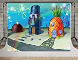 SDDSER Cute Bob Pineapple House Backdrops for Kids Birthday Party Photography 7X5FT Pie Star Photo Backgrounds Stand Party Wall Paper Room Mural Props Soft Polyester SDZY154
