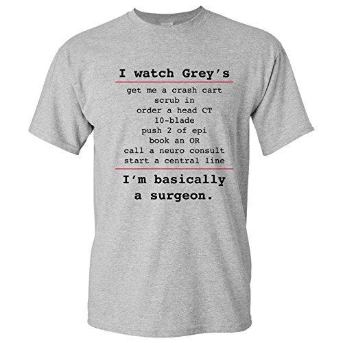 UGP Campus Apparel Basically a Surgeon - Funny Surgery Doctor Quotes T Shirt - Medium - Sport Grey