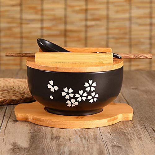 XKP Küche Geschirr koreanische Vintage Schüssel Nudeln Reis Schüssel japanischen Stil schwarz Keramik Instant Nudel Schüssel Stäbchen mit Deckel und Löffel Küche liefert
