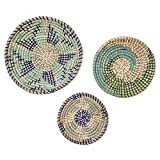Rattan Wall Decor. Set of 3 Wicker Wall Decor Hanging Baskets Perfect for Wall Basket Decor. These stylish Woven Wall Hanging Baskets in blues and greens are Ideal for Boho Wall Decor