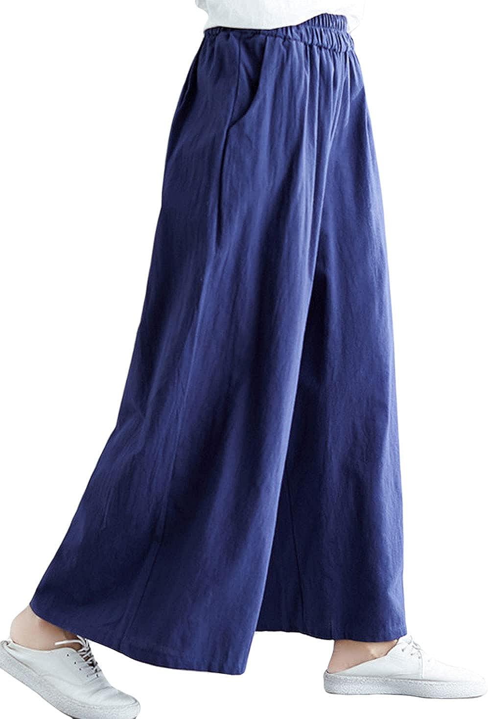CHARTOU Women's Cotton Linen Elastic Waist Palazzo Wide Leg Lounge Pants with Pockets