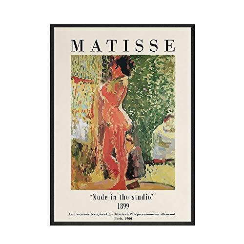 Pintura al leo abstracta moderna, pintura de exposicin, lienzo de Matisse, pster impreso, imagen mural, lienzo sin marco para el hogar, pintura C 60x90cm