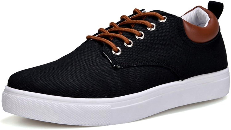 RENMEN Canvas shoes men's wild casual shoes trend large size shoes 39-46, black