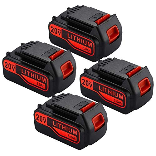 4Pack 5000mAh 20v Lithium-Ion Replacement Battery for Black and Decker 20V Lithium Battery LBXR20 LB2X4020-OPE LBX20 LST220 LB20 LBX4020 LBXR2020-OPE LBXR20B-2 LBXR20-OPE