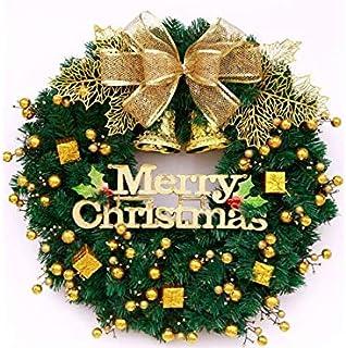 Pengcher Christmas Wreath Door Hanging Ornaments Room Christmas Tree Pendants for Decoration(Golden)