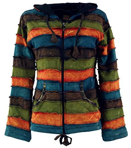 Guru-Shop Goa Patchwork Jacke mit Kapuze, Damen, Olive/Rostorange, Baumwolle, Size:M (38), Boho Jacken, Westen Alternative Bekleidung