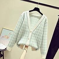 女性の長袖セーター長い新しい女性のカーディガン秋と冬の格子縞のVネック長袖メディアをトップス女性のセーターをルーズフィット Jskdzfy (Color : Green, Size : One Size)