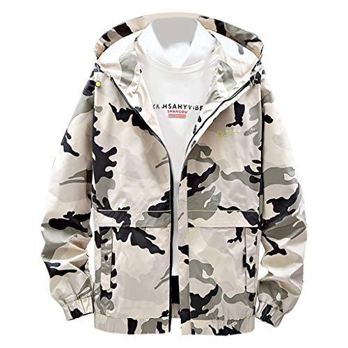 MAYOGO Herren Sweatjacke Lässige Camouflage Kapuzenjacke Regenjacke Streetwear College Jacke Übergangsjacke Dünn Full Zip Herrenjacke Jacken Cardigan Sweatjacke Mantel (Grün, M)