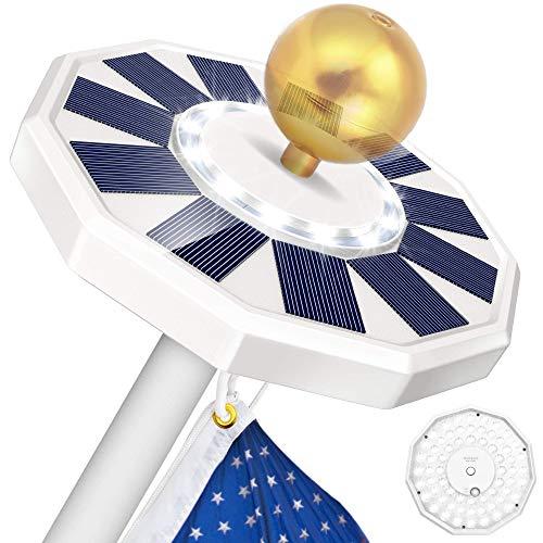 totobay 76 LED Solar Flag Pole Light, Double-Sided Super Bright Solar Flag Night Light, Rechargeable Flagpole Solar Light for Most 15 to 25 ft Flag Pole Topper, 3 Modes, Auto ON/Off