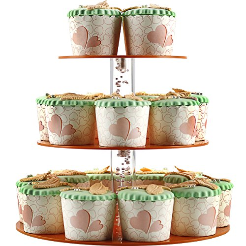 3 Tier Cupcake Stand, Round Cake and Cupcake Stand For Wedding Birthday Parties, 3 Tier Acrylic Cake stand for Display Holder Cupcakes and Party food