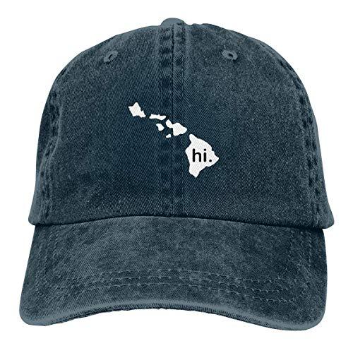 Hi with Hawaii Island Vintage Adjustable Denim Hat Trucker Cap ForAdult Net Red 4036