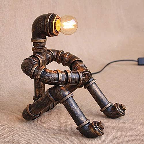 TAIDENG Lámparas de mesa para salón personalidad Creativa Lámpara de mesa de hierro labrado Lámpara de mesa de metal Vintage Robot Thinker Sky Light Loft Steampunk Desktop Light Nostalgia Restaurante