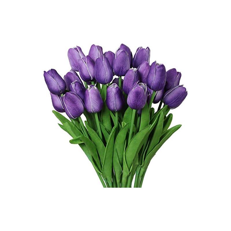 silk flower arrangements nubry 30pcs artificial tulip flowers fake real touch tulips flower bouquet for wedding arrangements centerpieces home decoration (purple)