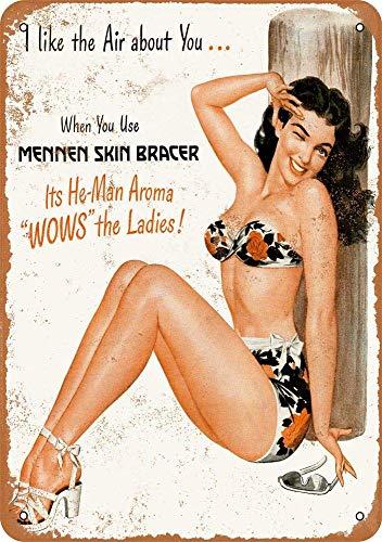 Mennen Skin Bracer Plaque vintage rétro en fer avec inscription en anglais « Mennen »