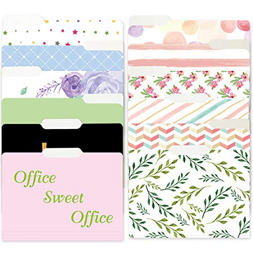 12 Decorative File Folders Watercolor Floral Colored File Folder Letter Size for Office Gift Document File Filing Organizers
