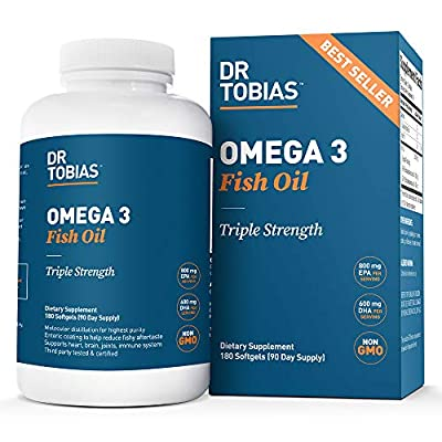 Dr Tobias Omega 3 Fish Oil Triple Strength, 2,000mg, Burpless, Non-GMO, NSF-Certified (180 Softgels) from Dr Tobias