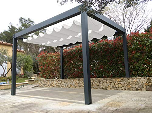 Coarbor Retractable Wave Shade Cover Replacement Pergola Shade Canopy Waterproof 4'Wx16'L Light Grey Slide Wire Extendable Shade Awning Sail for Patio Deck Gazebo